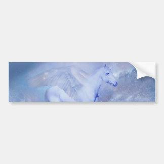 Blue Unicorn with wings fantasy Bumper Sticker