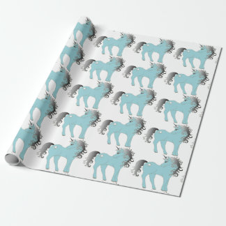 Blue Unicorn Wrapping Paper