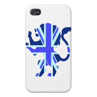 Blue Union Jack Lion Covers For iPhone 4
