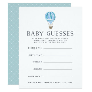 Blue | Up in the Air Baby Shower Guessing Game Card
