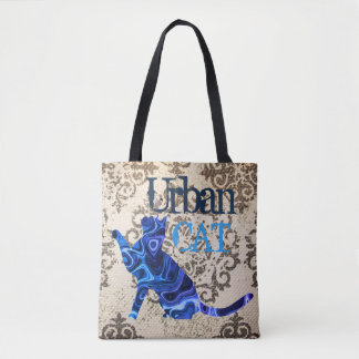 Blue Urban Cat & Mouse All-Over-Print Tote Bag