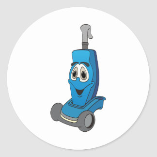 Blue Vacuum Cleaner Round Sticker