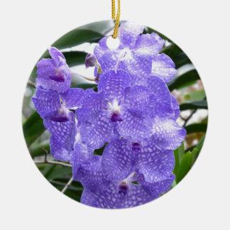 Blue Vanda Orchid Flowers Round Ceramic Decoration