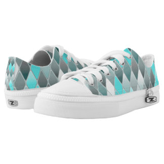 Blue Variegated Diamonds Low Tops