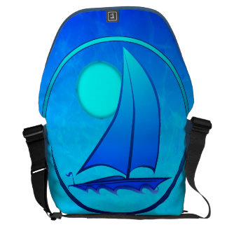 Blue Vector Sailboat Courier Bags