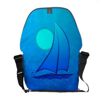 Blue Vector Sailboat Messenger Bags