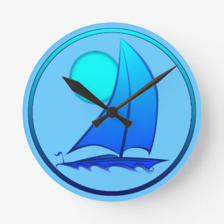 Blue Vector Sailboat Round Clock