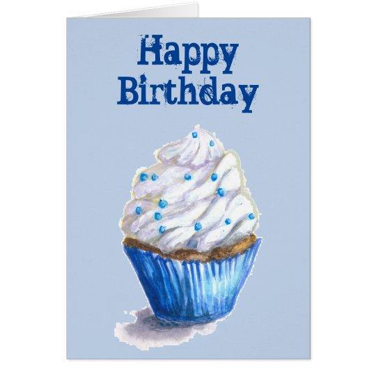 Blue Velvet Cupcake Birthday Card