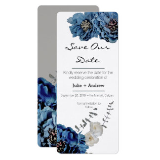 Blue Velvet Flower Save Our Date Card