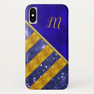 Blue Velvet, Gold Glitter Monogram iPhone X Case