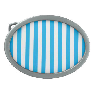 Blue Vertical Stripes Oval Belt Buckle