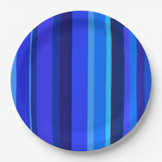 Blue vertical stripes paper plate