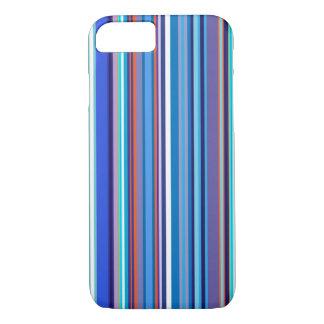 Blue Vertical Stripes Pattern iPhone 7 Case