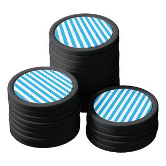 Blue Vertical Stripes Poker Chips
