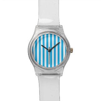 Blue Vertical Stripes Watch
