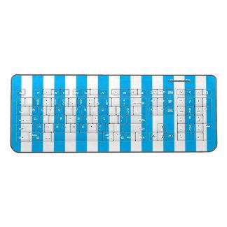 Blue Vertical Stripes Wireless Keyboard