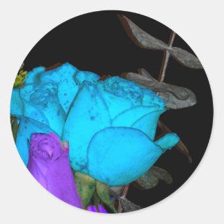 blue vibrance purple vibrance roses classic round sticker