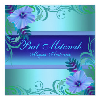 Blue Vibrant Flower Bat Mitzvah Invite