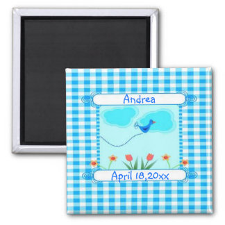 Blue Vichy New Baby Boy Square Magnet