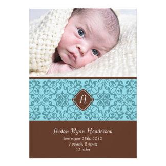 Blue Victorian Baby Announcement