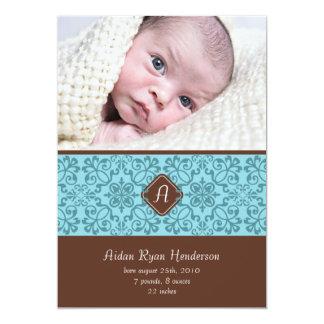 "Blue Victorian Baby Announcement 5"" X 7"" Invitation Card"