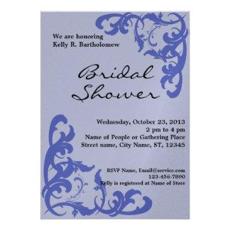 Blue Victorian Flourish Filigree Bridal Shower Announcement