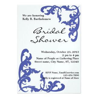 Blue Victorian Flourish Filigree Bridal Shower Custom Invitation