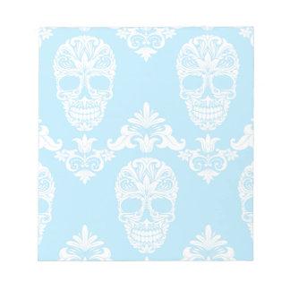 blue victorian skulls notepad