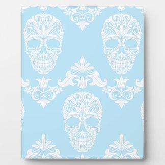 blue victorian skulls plaque