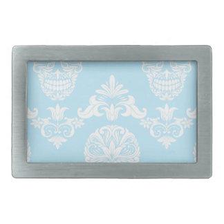 blue victorian skulls rectangular belt buckles