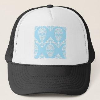 blue victorian skulls trucker hat