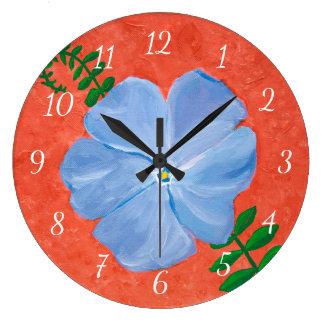 Blue Vinca Vine Flower Painting on Terra Cotta Large Clock