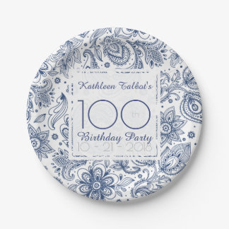 Blue Vintage 100th Birthday Party Paper Plate