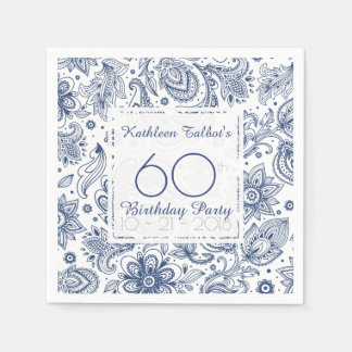 Blue Vintage 60th Birthday Party Paper Napkin
