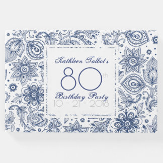 Blue Vintage 80th Birthday Party Guest Book