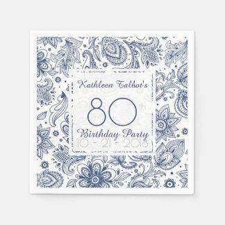 Blue Vintage 80th Birthday Party Paper Napkin