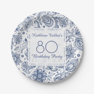 Blue Vintage 80th Birthday Party Paper Plate