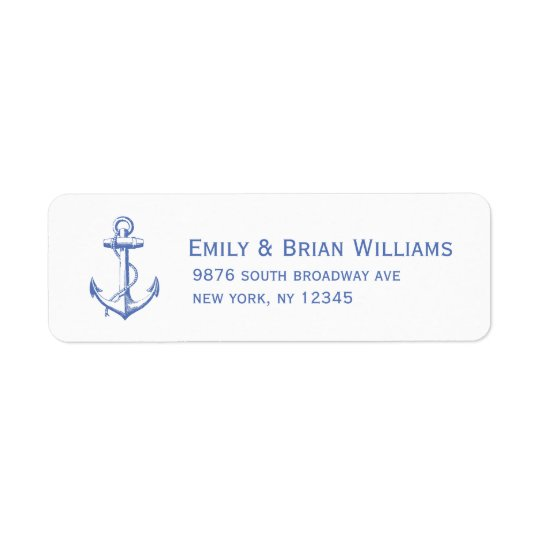Blue Vintage Anchor Illustration Return Address Label