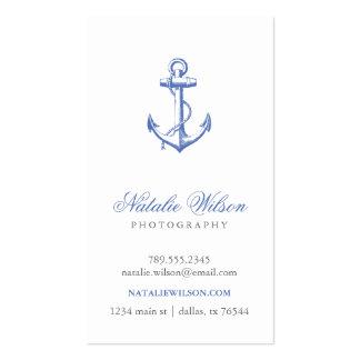 Blue Vintage Anchor Vertical Business Cards