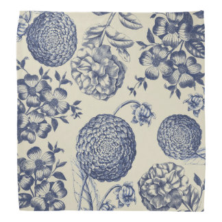 Blue Vintage Artwork Print Flower Antique Bandana