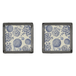 Blue Vintage Artwork Print Flower Antique Gunmetal Finish Cufflinks