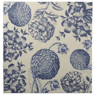 Blue Vintage Artwork Print Flower Antique Napkin