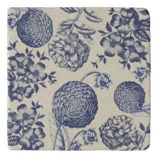 Blue Vintage Artwork Print Flower Antique Trivet