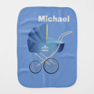 Blue Vintage Baby Carriage Burp Cloth