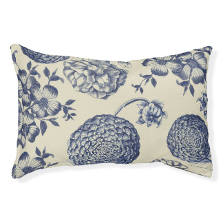 Blue Vintage Botanical Art Print Floral Pet Bed