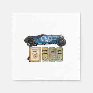 Blue Vintage Car Paper Napkin