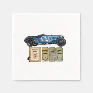 Blue Vintage Car Paper Napkins