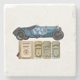 Blue Vintage Car Stone Coaster