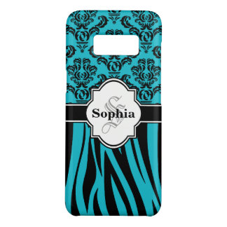 Blue Vintage Damask Cool Zebra Stripes Case-Mate Samsung Galaxy S8 Case