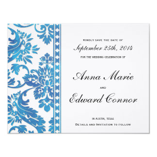 "Blue Vintage Damask Lace Save the Date 4.25"" X 5.5"" Invitation Card"